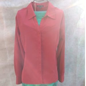 Size S rusty red blouse long sleeve